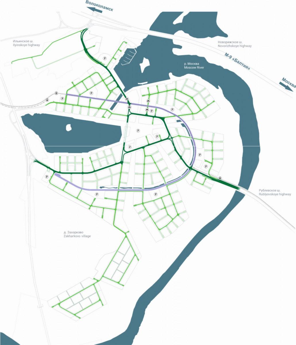 Фрагмент схемы транспортного обслуживания территории Рублево-Архангельское (проект)